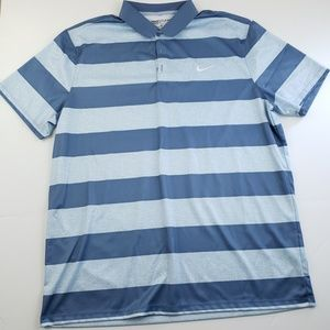Nike Golf Mens Blue Stripe Polo Size XLARGE